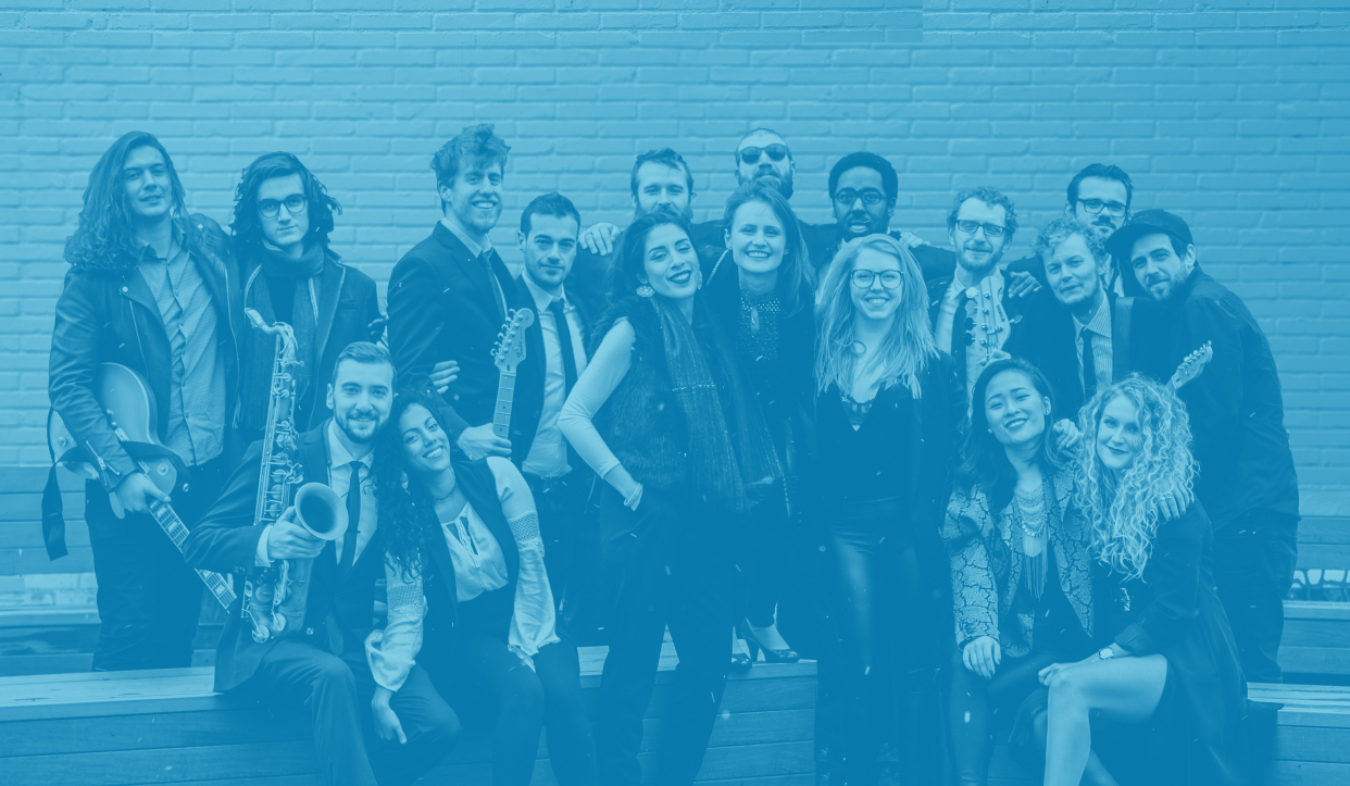 Toronto's best and most versatile wedding and event band take a group photo